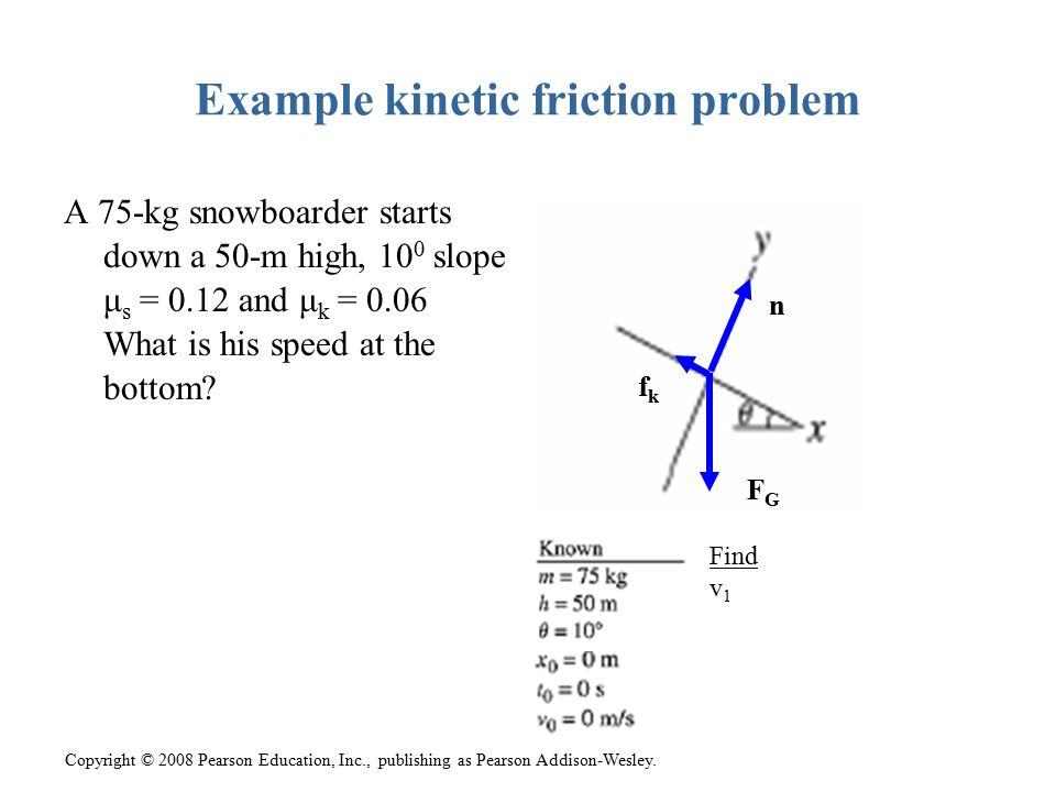Example kinetic friction problem