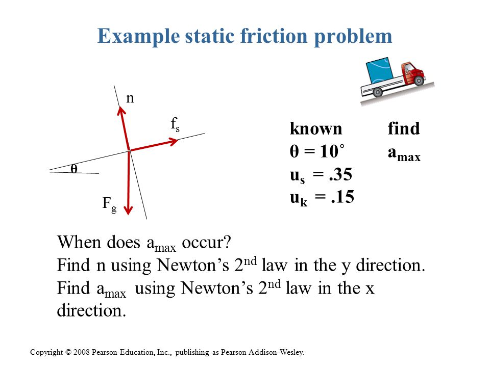 Example static friction problem