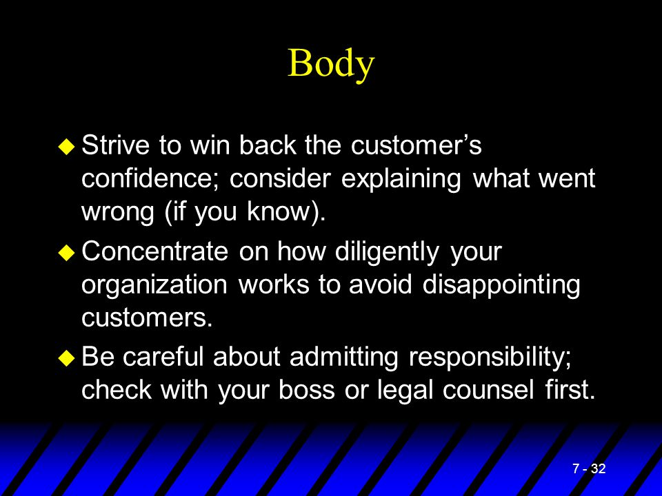 Body Strive to win back the customer's confidence; consider explaining what went wrong (if you know).