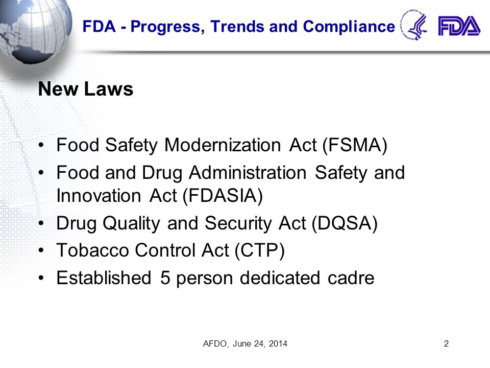 FDA - Progress, Trends and Compliance