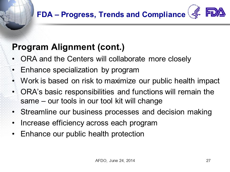 FDA – Progress, Trends and Compliance