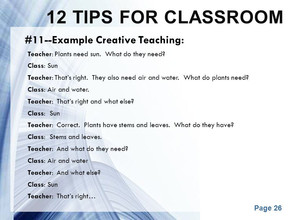 12 tips for classroom #11--Example Creative Teaching: