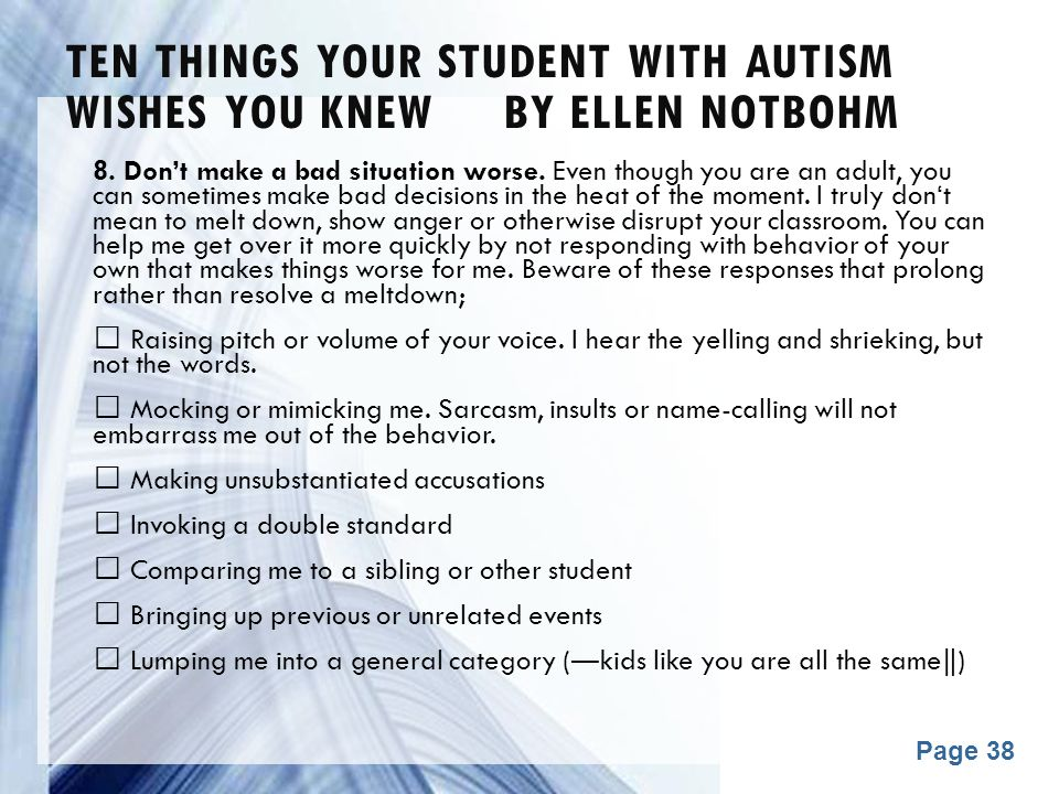 Ten Things Your Student with Autism Wishes You Knew by Ellen Notbohm