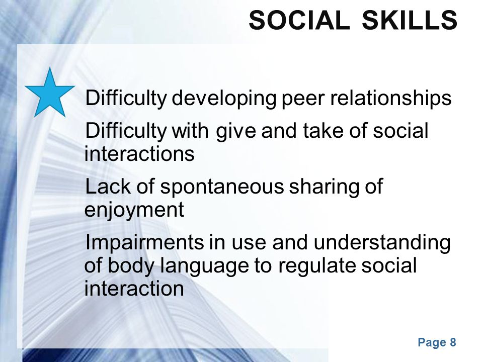 Social Skills Difficulty developing peer relationships