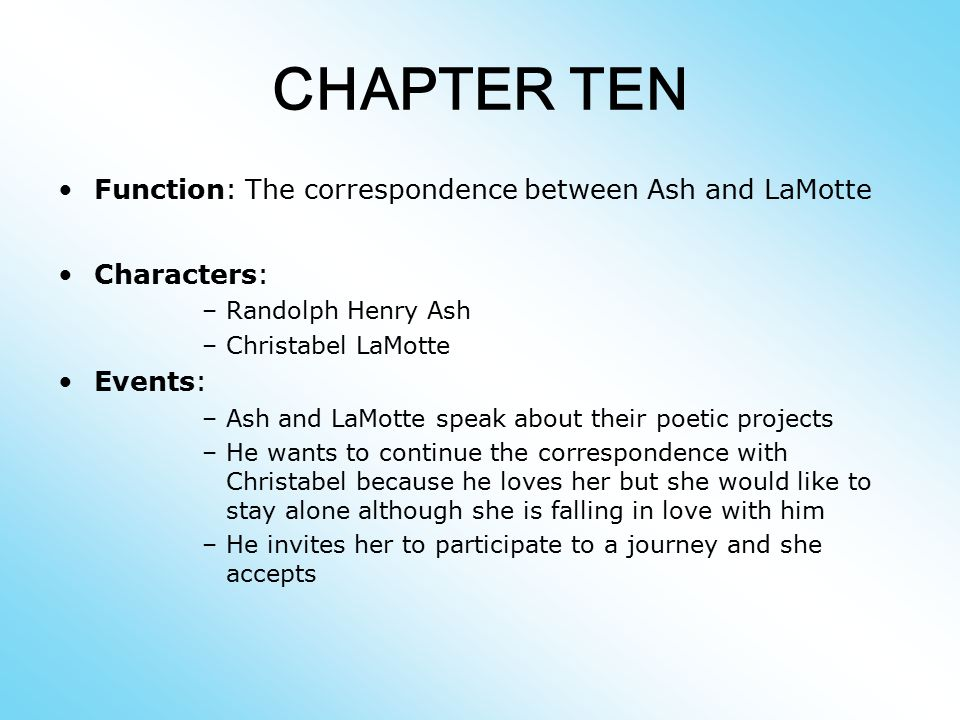 CHAPTER TEN Function: The correspondence between Ash and LaMotte