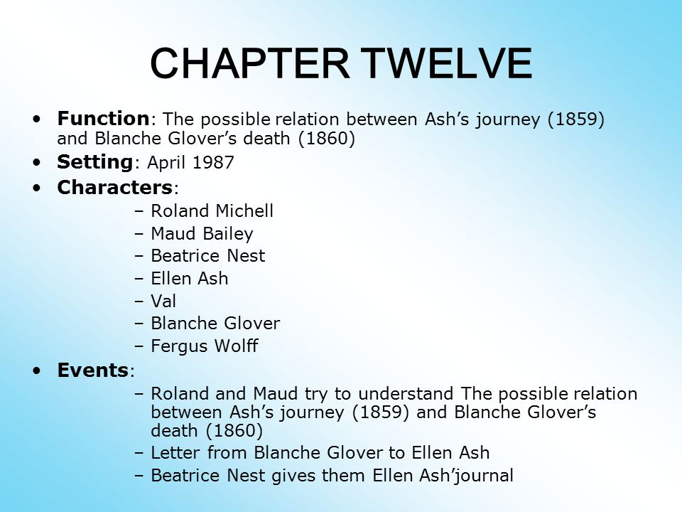 CHAPTER TWELVE Function: The possible relation between Ash's journey (1859) and Blanche Glover's death (1860)