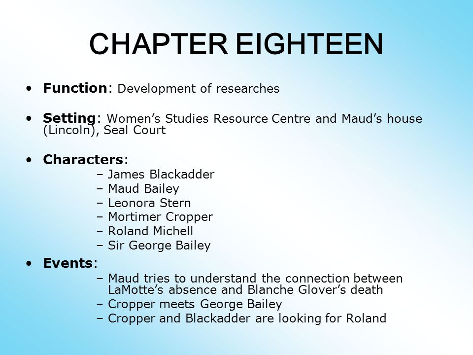 CHAPTER EIGHTEEN Function: Development of researches