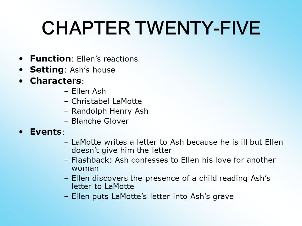CHAPTER TWENTY-FIVE Function: Ellen's reactions Setting: Ash's house
