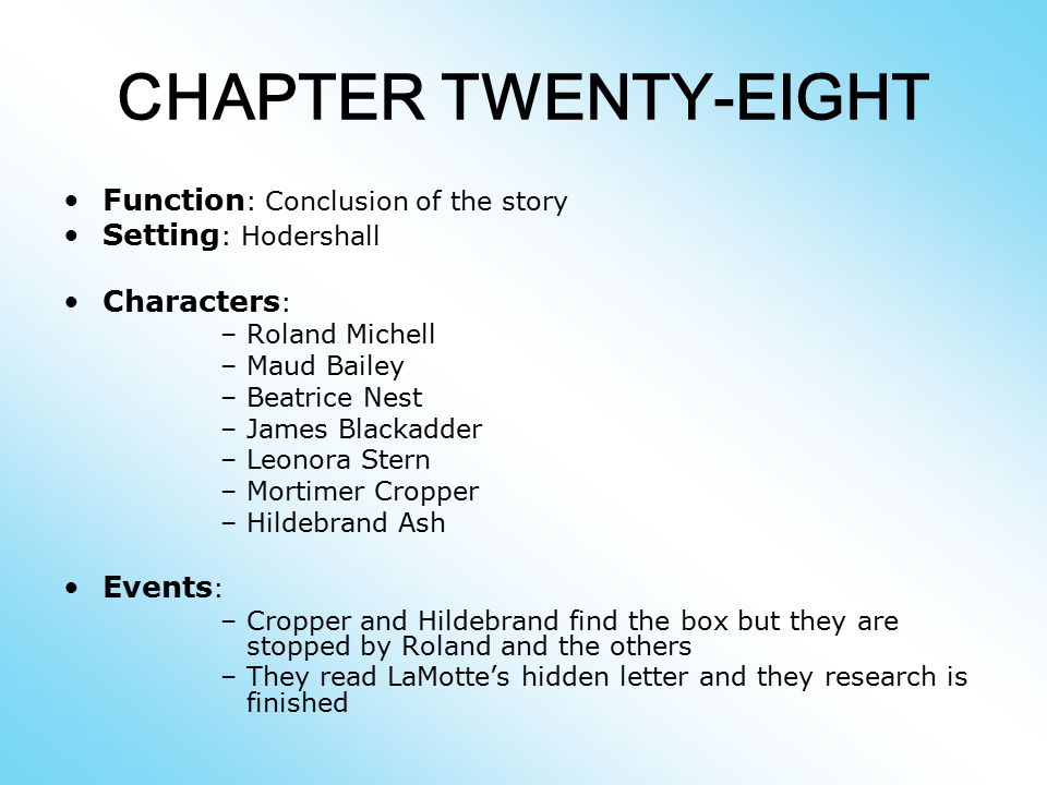 CHAPTER TWENTY-EIGHT Function: Conclusion of the story