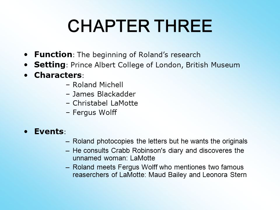 CHAPTER THREE Function: The beginning of Roland's research