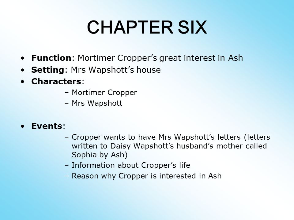 CHAPTER SIX Function: Mortimer Cropper's great interest in Ash