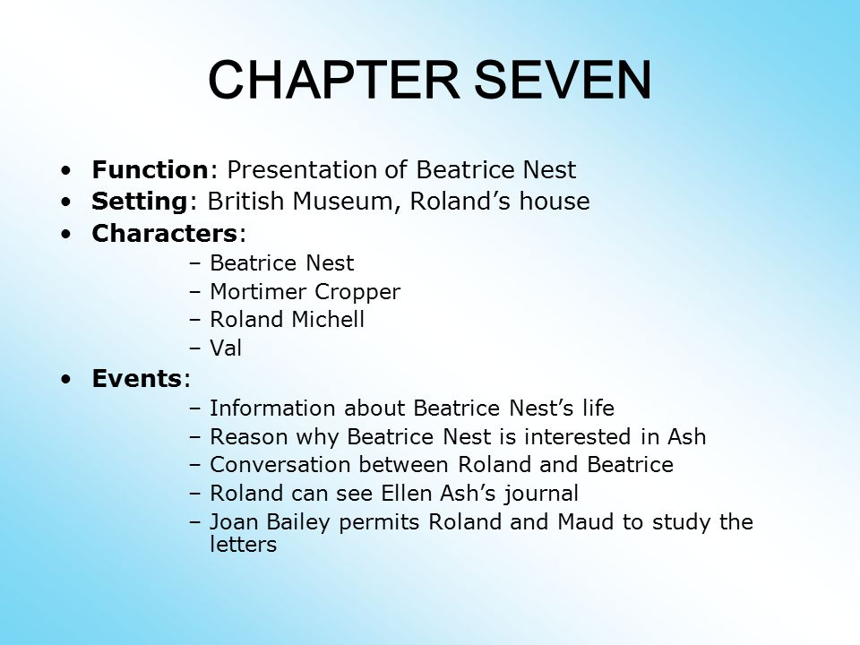 CHAPTER SEVEN Function: Presentation of Beatrice Nest