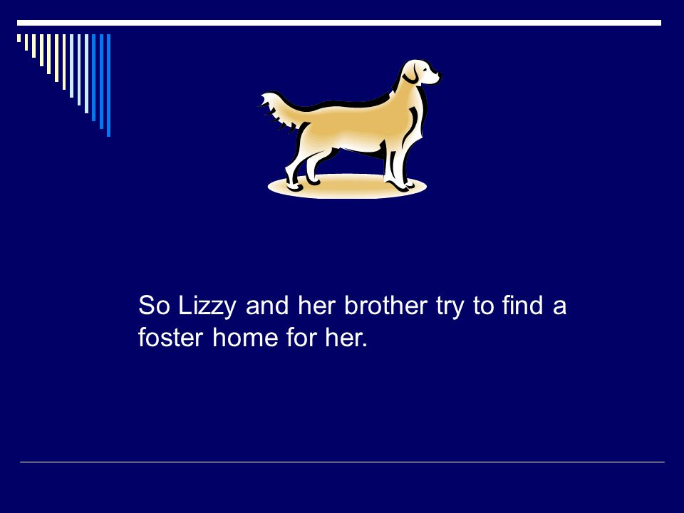 So Lizzy and her brother try to find a foster home for her.