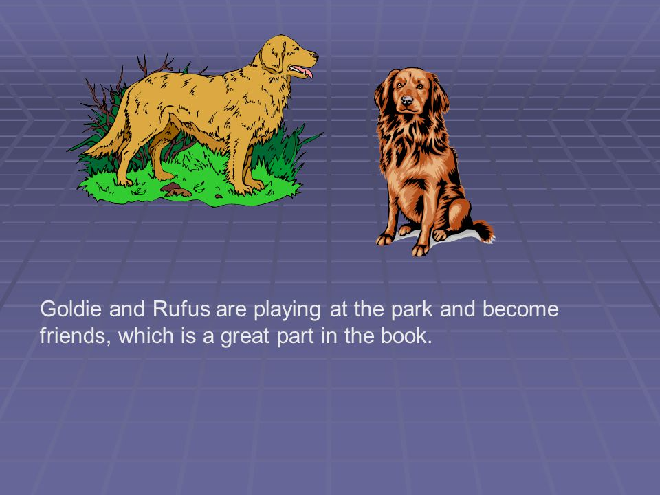 Goldie and Rufus are playing at the park and become friends, which is a great part in the book.