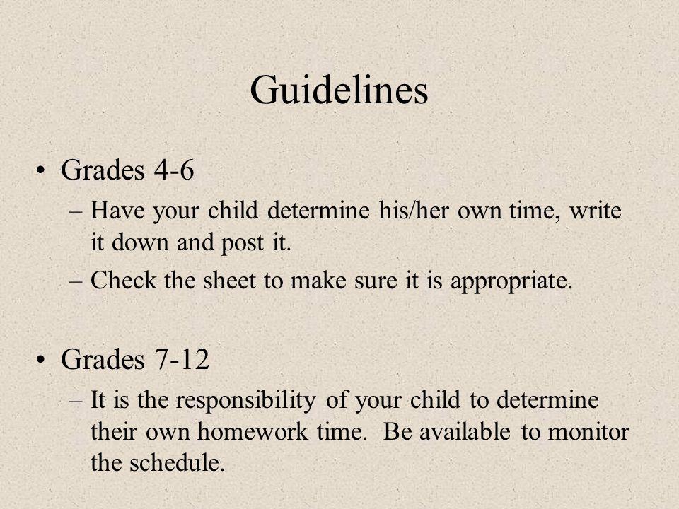 Guidelines Grades 4-6 Grades 7-12