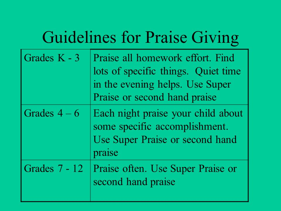 Guidelines for Praise Giving