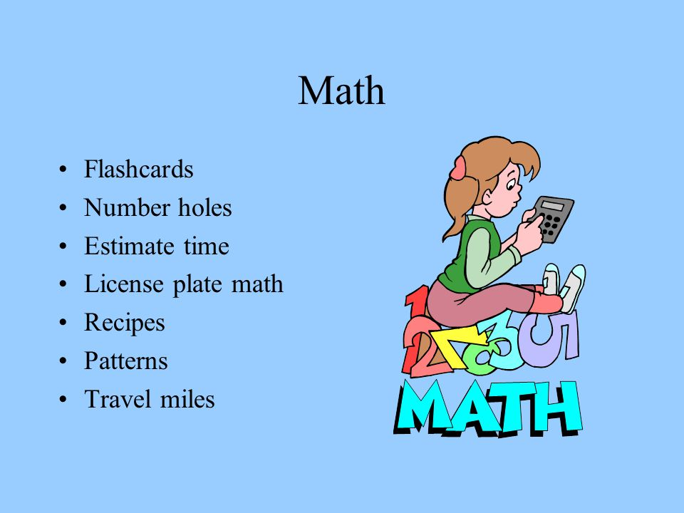 Math Flashcards Number holes Estimate time License plate math Recipes