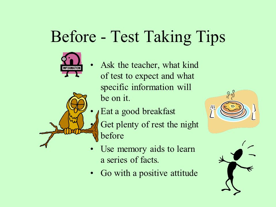 Before - Test Taking Tips