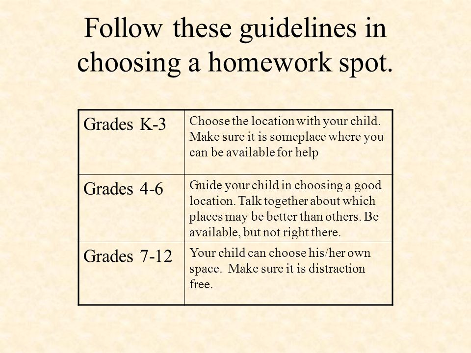Follow these guidelines in choosing a homework spot.