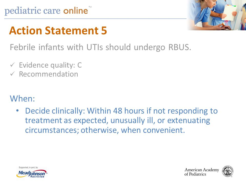 Action Statement 5 Febrile infants with UTIs should undergo RBUS.