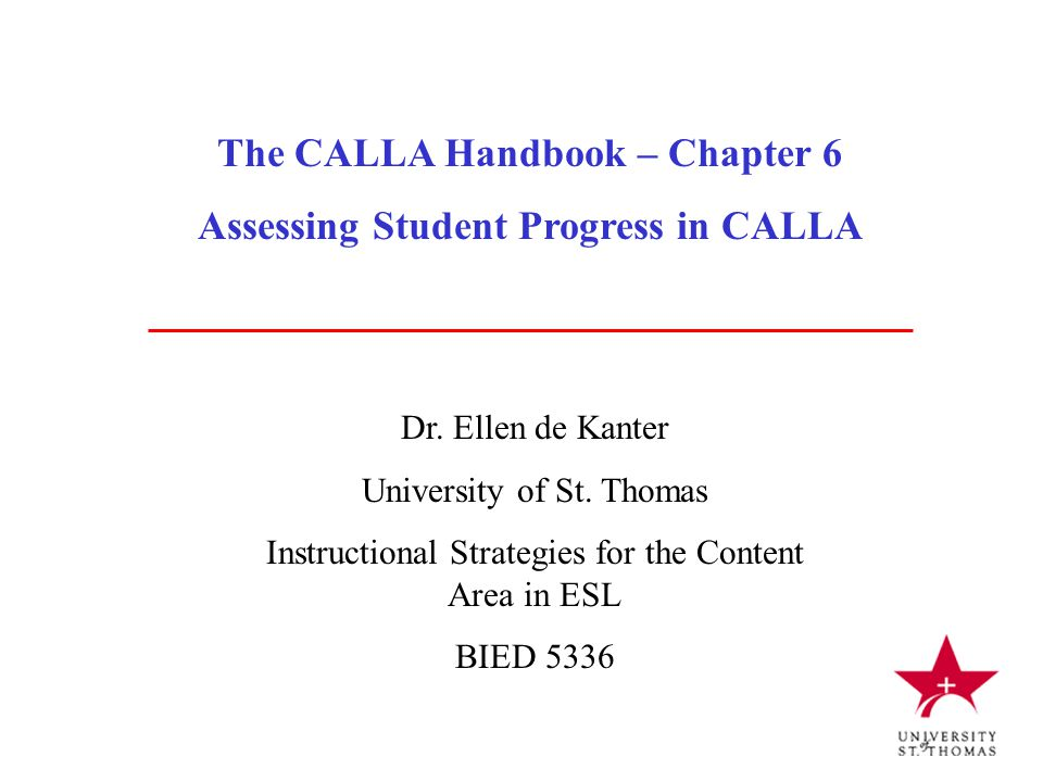 The CALLA Handbook – Chapter 6 Assessing Student Progress in CALLA