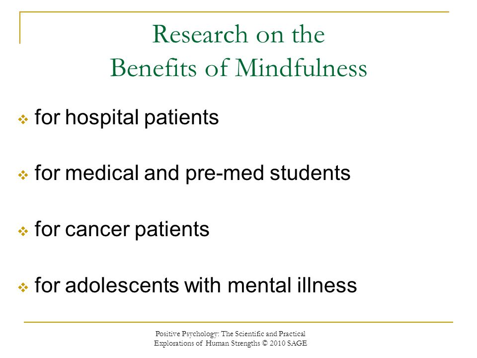 Research on the Benefits of Mindfulness