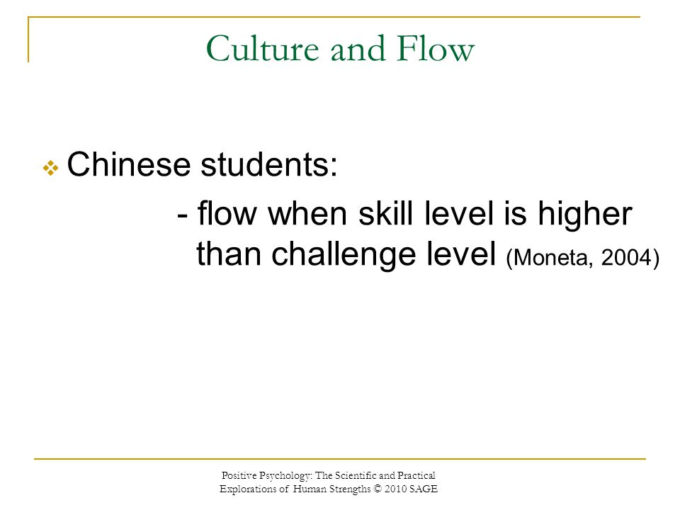 Culture and Flow Chinese students: