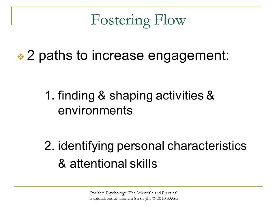 Fostering Flow 2 paths to increase engagement: