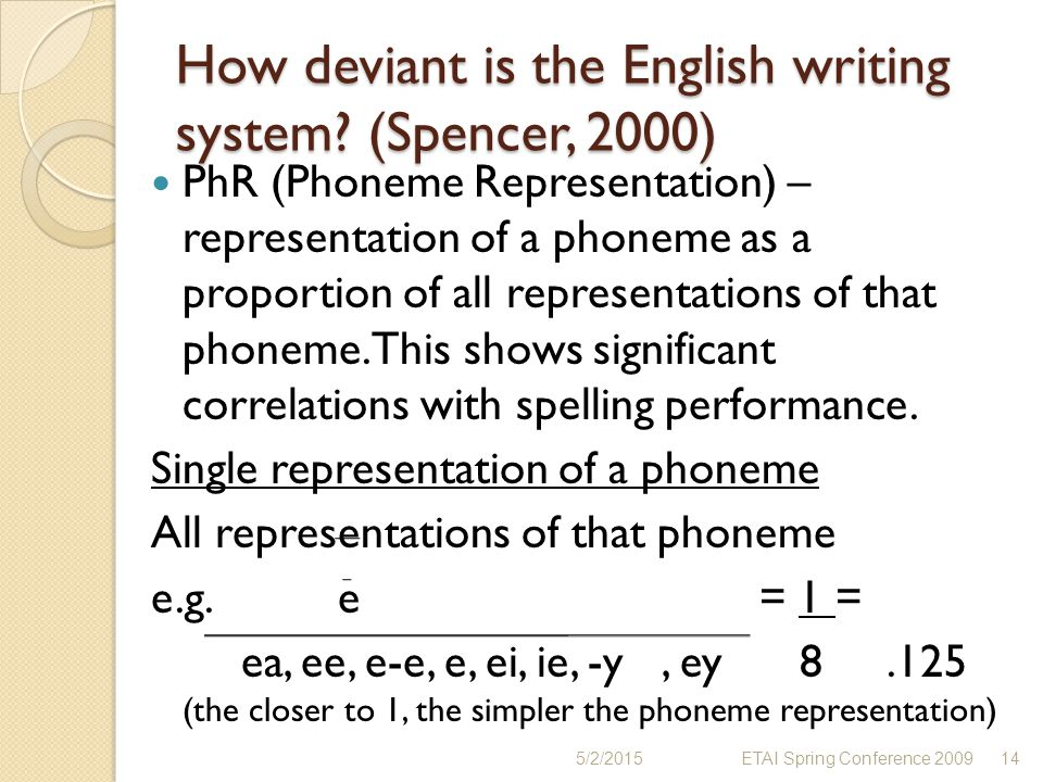 How deviant is the English writing system (Spencer, 2000)