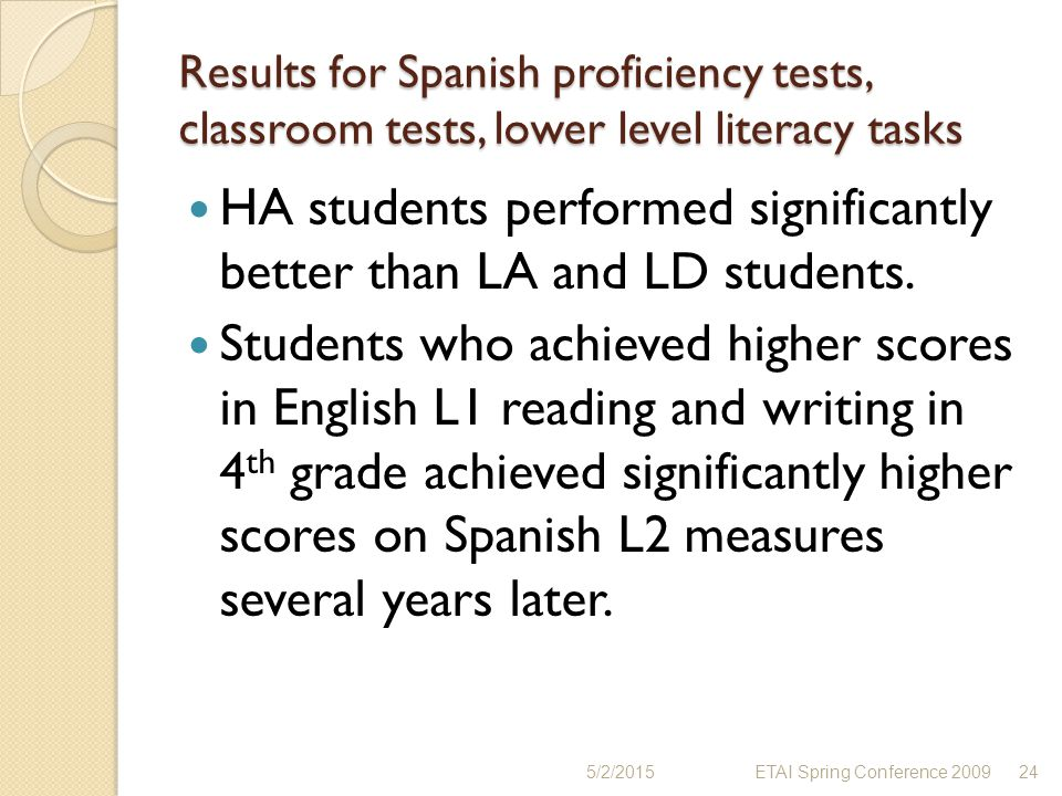 HA students performed significantly better than LA and LD students.
