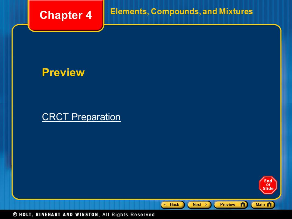 Chapter 4 Elements, Compounds, and Mixtures Preview CRCT Preparation