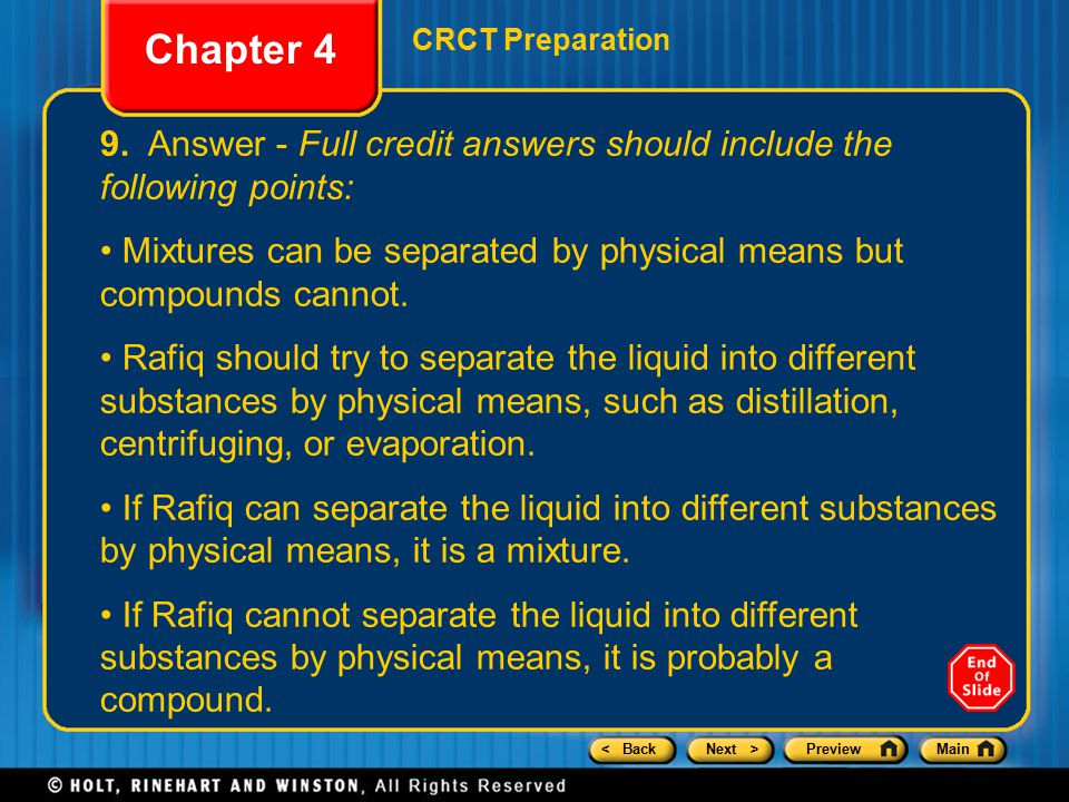 Chapter 4 CRCT Preparation. 9. Answer - Full credit answers should include the following points: