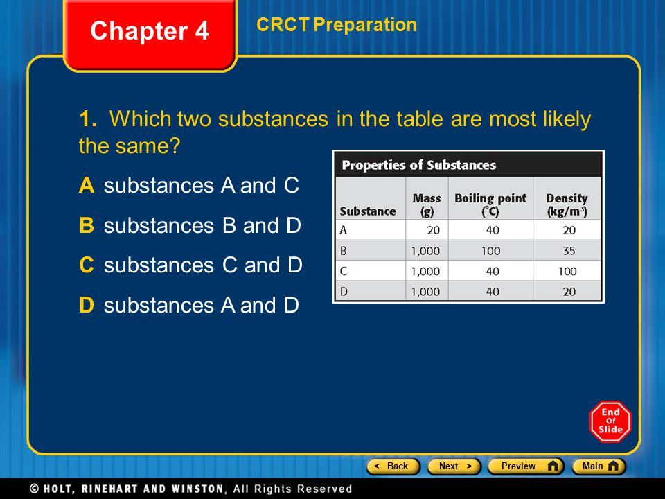 Chapter 4 CRCT Preparation. 1. Which two substances in the table are most likely the same A substances A and C.
