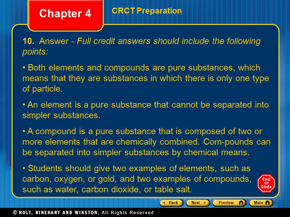 Chapter 4 CRCT Preparation. 10. Answer - Full credit answers should include the following points: