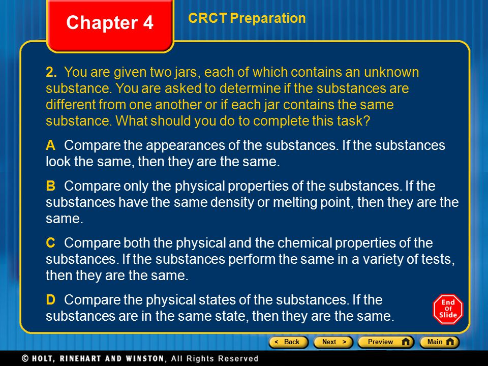 Chapter 4 CRCT Preparation