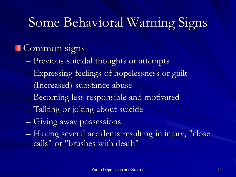 Some Behavioral Warning Signs