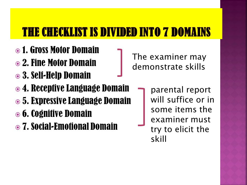 The checklist is divided into 7 domains