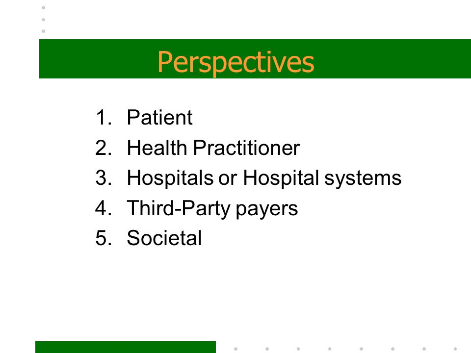 Perspectives Patient Health Practitioner Hospitals or Hospital systems