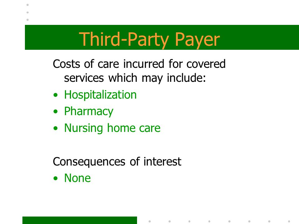 Third-Party Payer Costs of care incurred for covered services which may include: Hospitalization. Pharmacy.