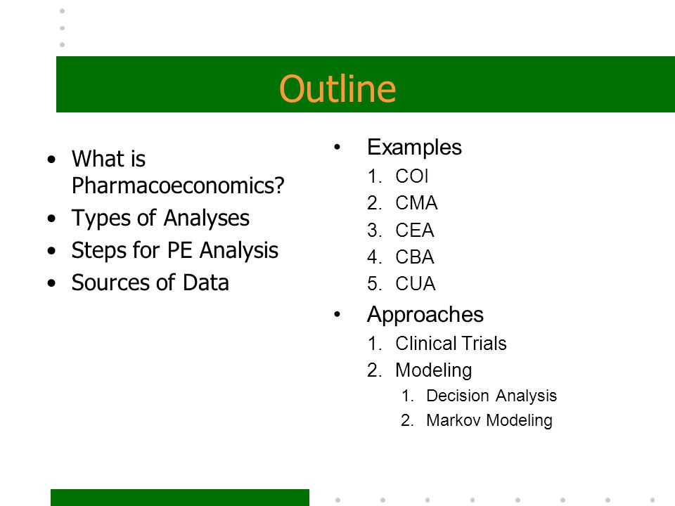 Outline Examples What is Pharmacoeconomics Types of Analyses
