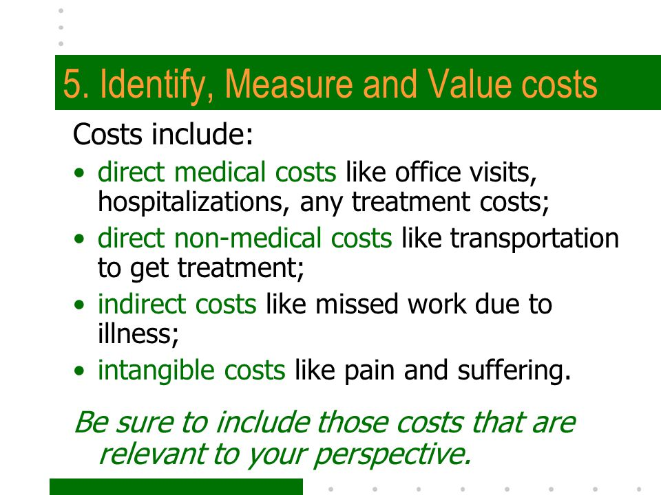 5. Identify, Measure and Value costs