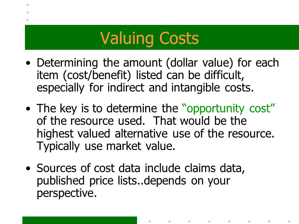 Valuing Costs