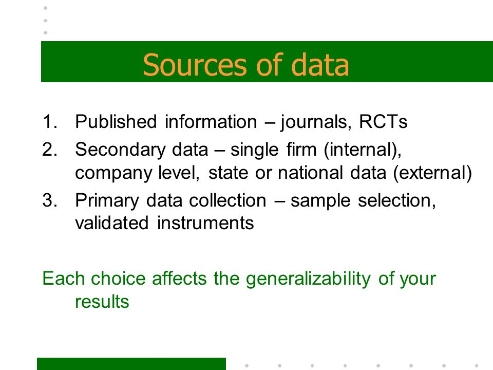 Sources of data Published information – journals, RCTs