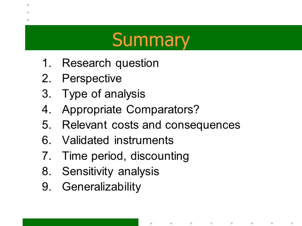 Summary Research question Perspective Type of analysis