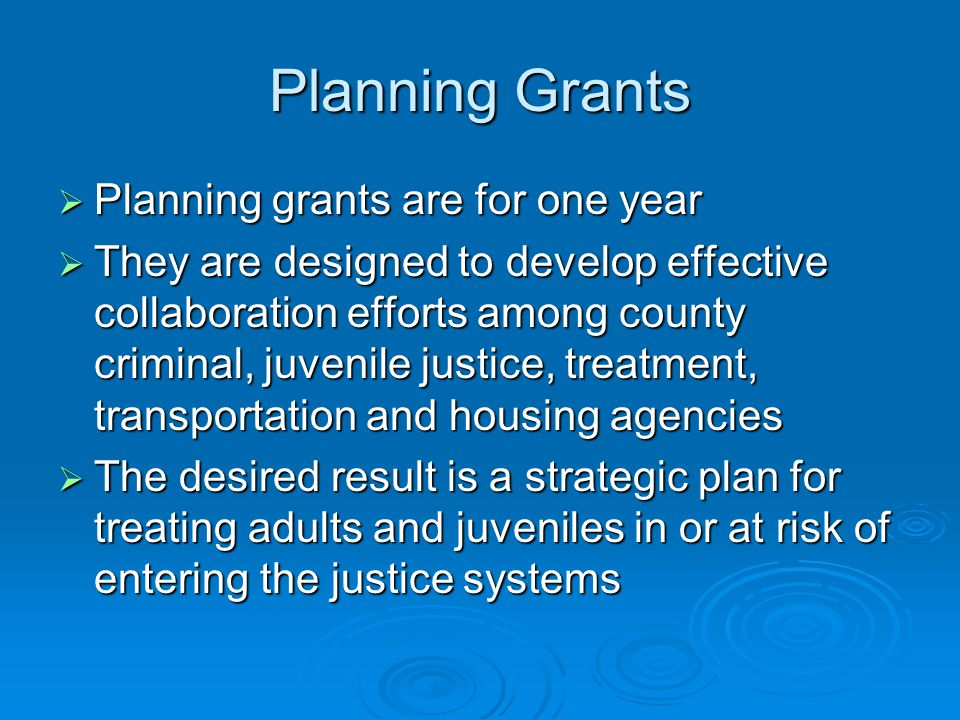 Planning Grants Planning grants are for one year