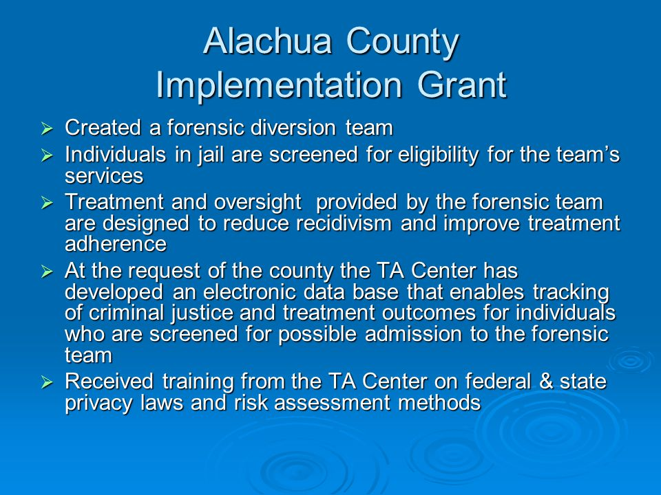 Alachua County Implementation Grant