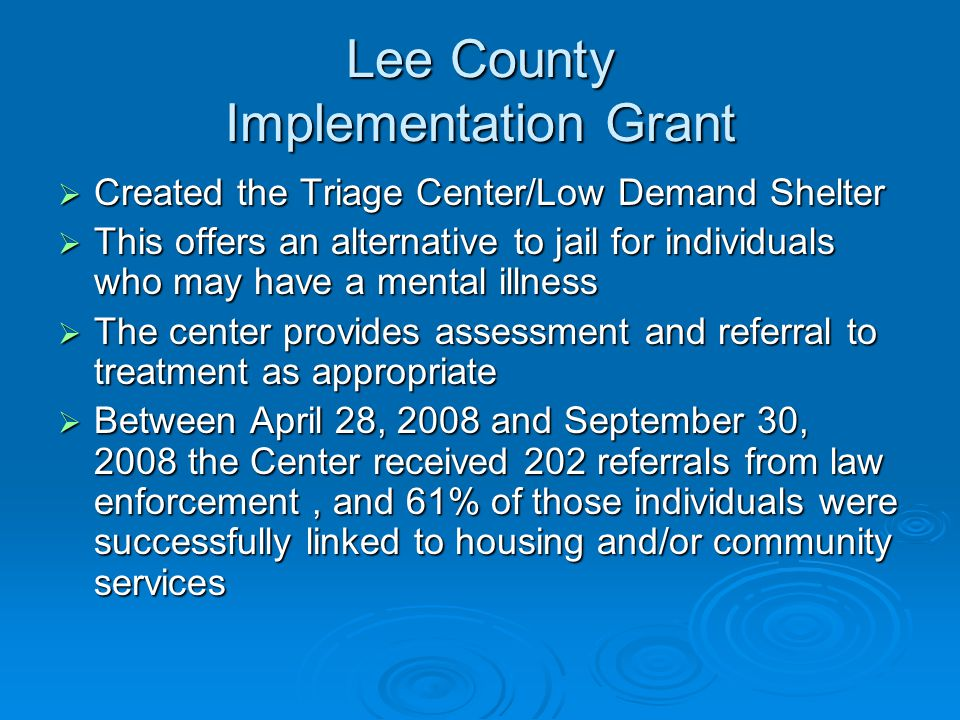 Lee County Implementation Grant