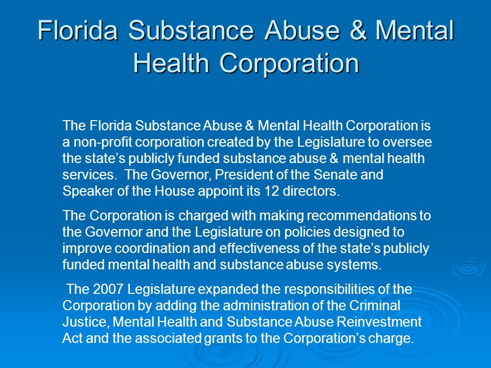 Florida Substance Abuse & Mental Health Corporation