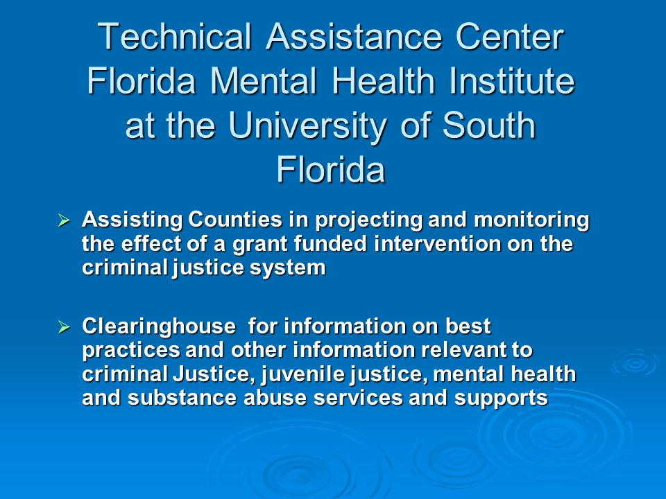 Technical Assistance Center Florida Mental Health Institute at the University of South Florida