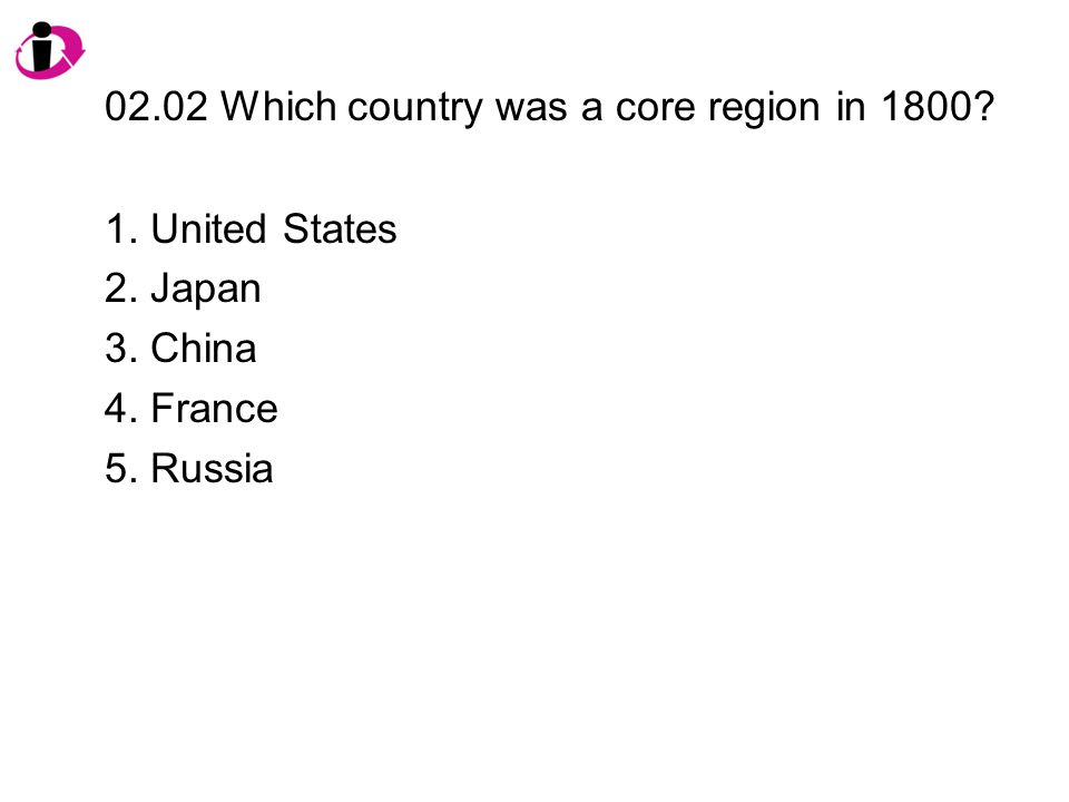 02.02 Which country was a core region in 1800